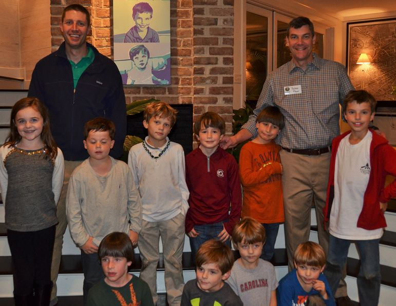 Returning campers and boys who came to learn more about Falling Creek joined Blair Hines and Yates in this group photo.  Blair, currently an oral surgeon for the Navy, is originally from Raleigh, NC.  He was in Yates' cabin back in the late 80's.  Blair was also a top kayaker at FCC as a camper and counselor. Now Blair and Tracy's two boys will be coming to FCC this summer to follow in Blair's footsteps.