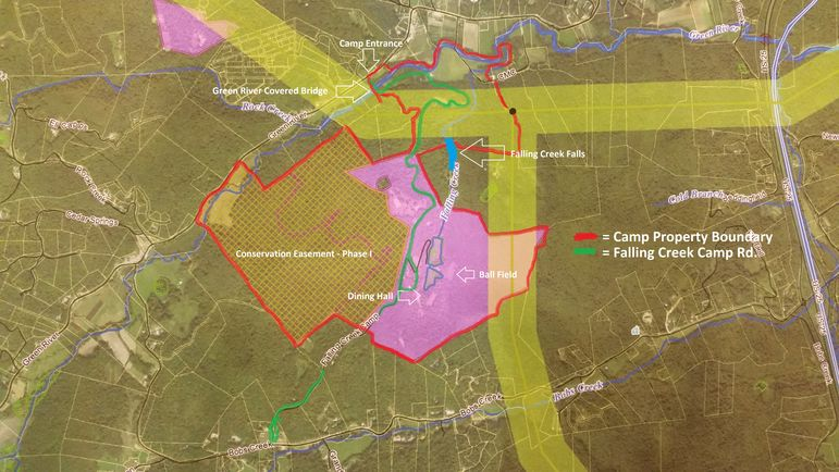 Duke Energy Proposed New 230kV Transmission Line Across Falling Creek Camp. Note: The yellow line on the map represents the proposed location of the transmission line construction.  It illustrates a 1,000 foot wide area that Duke Energy used to contact all property owners within this area. The final right-of-way condemnation will be 150 feet wide in the center of this yellow line.