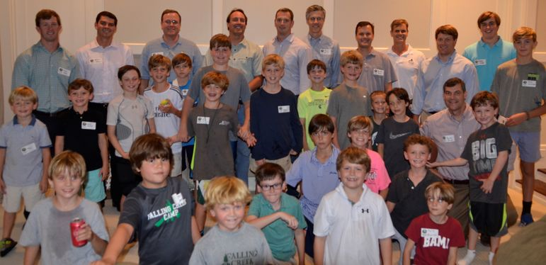 The FCC boys were joined in this photo by dads who were Falling Creek campers years ago and/or who have gone to FCC Father/Son weekend with their son.