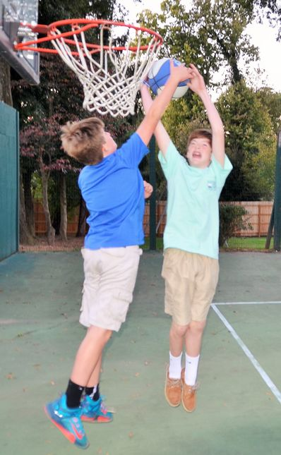 There were also some pick-up basketball games going on