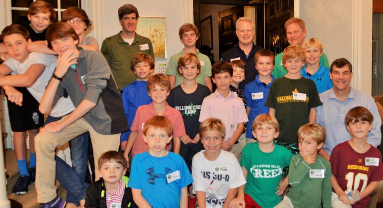 Dads who were Falling Creekers, or who went to Father/Son Weekend, joined the boys in a group photo.  Hawse Spencer, the Hurst boys uncle (Sarah's brother - standing in back left), went to FCC as well and came to reconnect tonight.