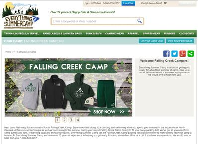 Screenshot of the new online camp store.