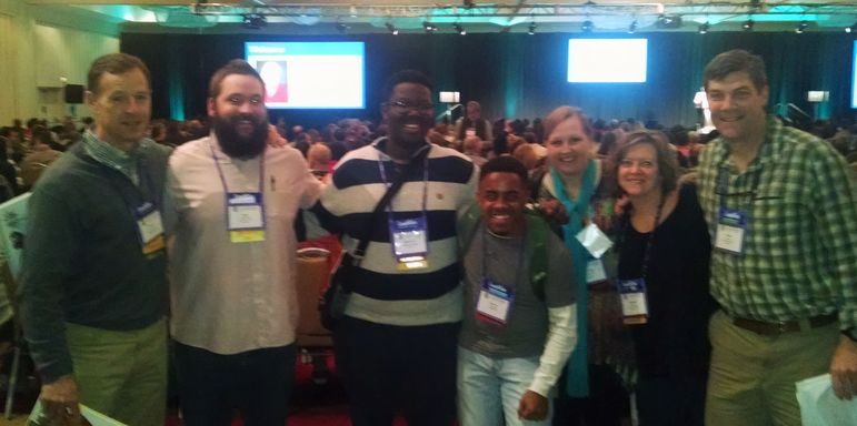"Falling Creek Directors and summer staff leaders at the ACA Conference in Atlanta ran into Sterling Ivy, the mother of a long-time camper from Augusta, GA. Sterling has started ""Camp Ivey"" as a camp for youth with developmental differences. (l to r) Frank Tindall, Kyle Jeffries, KD Lemons, Zach Rivera, Sterling Ivey, Marisa Pharr, and Yates Pharr."