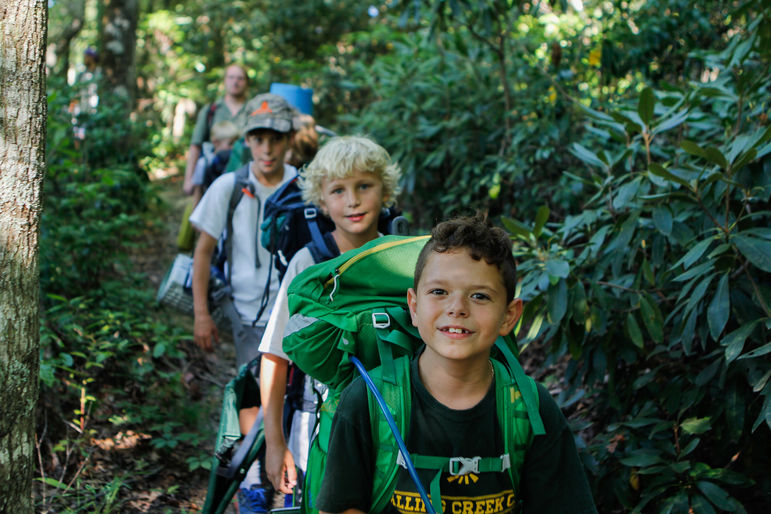 Junior campers also enjoy going on an overnight camping trip on the Falling Creek property.
