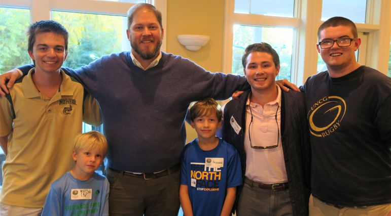 Andrew, Rob Wall, Hayden, and Dougie standing with Rob and Elizabeths sons, Haywood and Rustin. Rob is enjoying the fact that his sons are getting to experience the same Falling Creek Camp summer that he did.  In fact Rob was in Yates' Cabin in 1987.