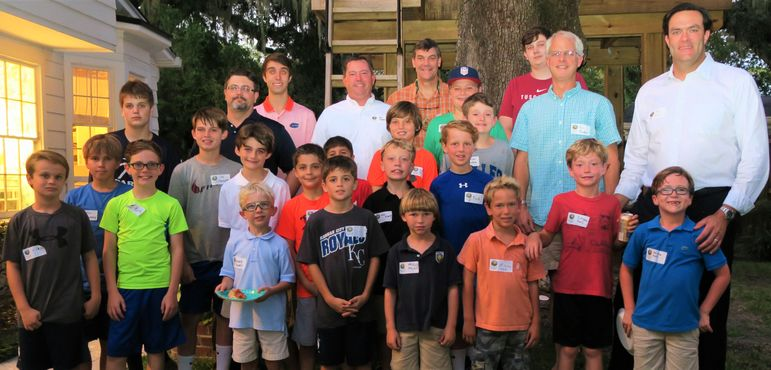 Dads who have joined their sons at FCC for Father/Son Weekend jumped into the group shot tonight.  Chris Garbo (back left), from Naples, FL, took time out of his busy schedule at the University of Florida to come say hello and support.  Chris has been a camper, CIT, and now counselor at Falling Creek for seven summers.