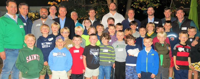 The boys and dads who have attended Father/Son Weekends joined with FCC alumni for a fantastic group photo. David Ritchey, 7th from left in the back row, was a camper in Yates' cabin at FCC in the late 80's and is now thrilled to be sharing his Falling Creek experience with both of his sons.