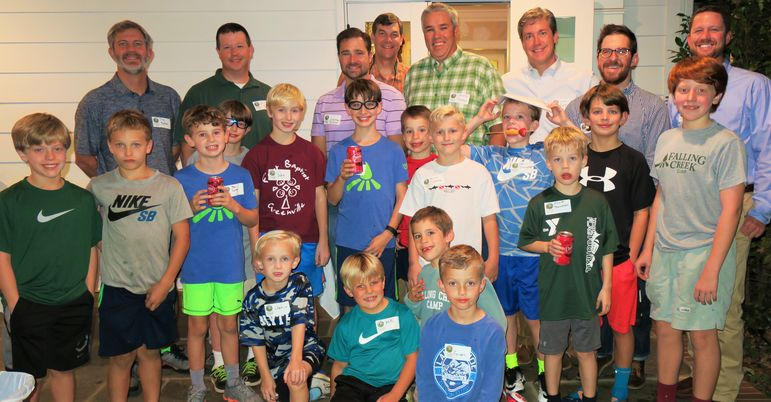 What a great group tonight of returning campers and boys who came to learn more about Falling Creek.  Staff, alumni, and dads who have attended FCC's Father/Son Weekend joined us in a group photo.