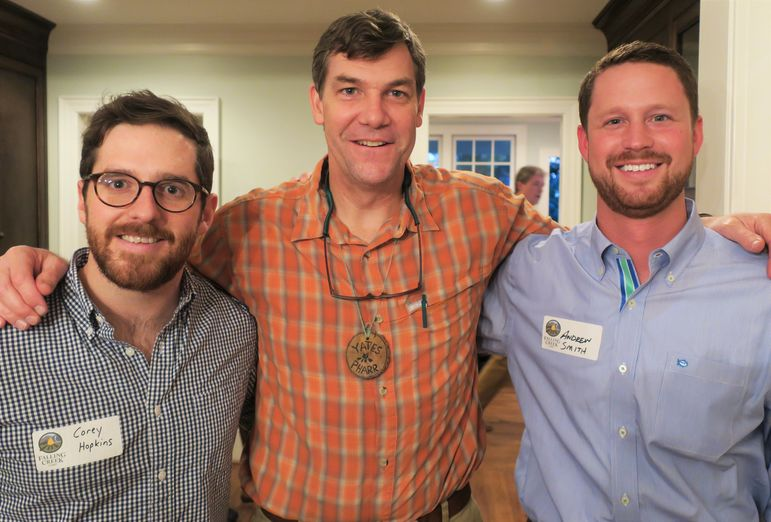 Yates was thrilled that Corey Hopkins and Andrew Smith came to the big event tonight.  Corey, a native of Greenville, was on staff from 2008-2010, and works for Confluence Outdoors, a kayak and canoe manufacturer.  Andrew is from south Georgia, but now works as a nurse practitioner in Greenville.  Andrew has been on staff at FCC since 2009, most recently serving as a leader/instructor on the HUCK Expeditions and also on the medical team at times. Thanks guys for taking time out of your busy schedule to come.