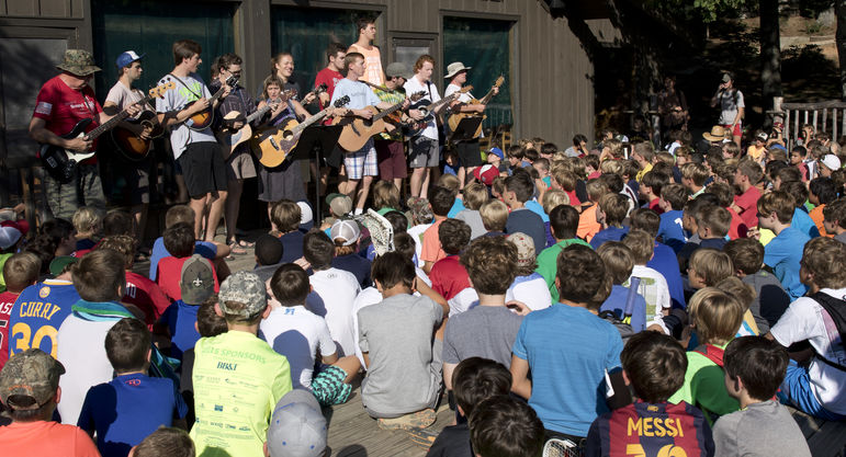 Musicians play traditional camp favorites at Morning Assembly.
