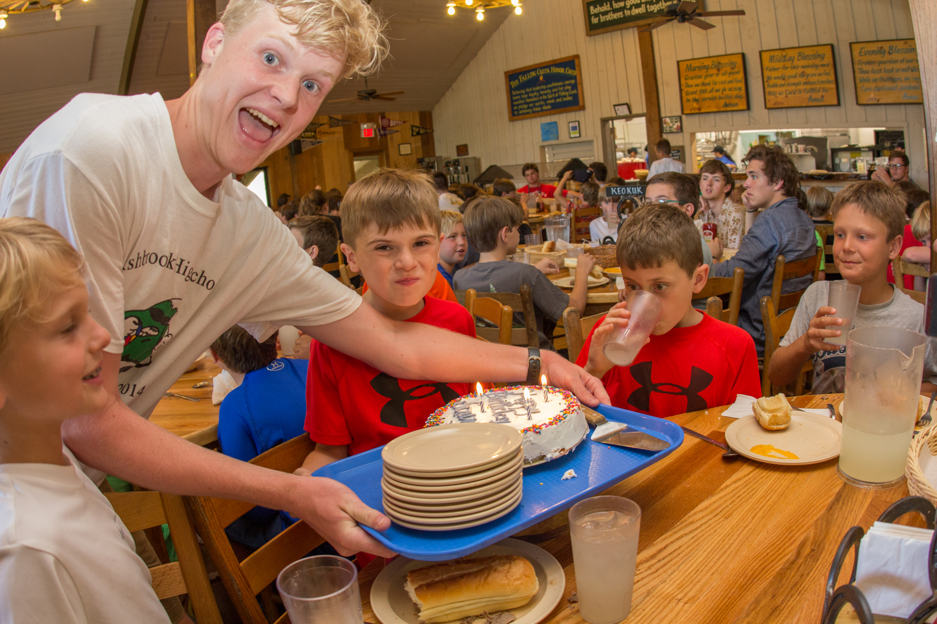 Birthdays at camp are awesome! If it is your birthday while you are at camp, everyone in the dining hall sings 'Happy Birthday' to you as we bring a cake to your table at either lunch or dinner. You get to share the cake with your cabinmates and friends.