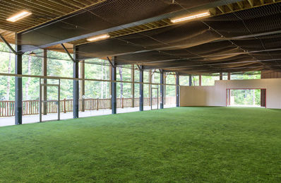 Our camp has an indoor turf soccer field with hockey glass.