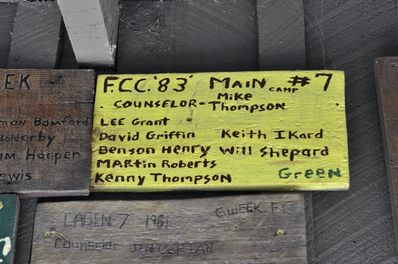 Cabin 7 sign from 1983 at summer camp.