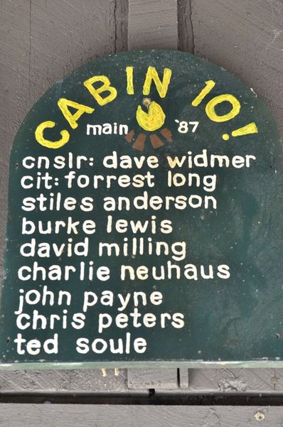 Cabin 10 sign from 1987 at summer camp.