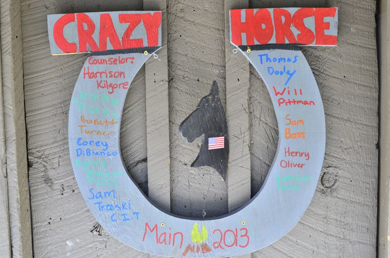 Cabin Crazy Horse sign from 2013 at summer camp.