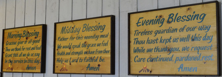 We sing blessings to pray as a camp community before each meal.