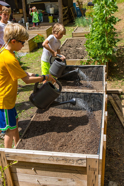 Campers at Falling Creek Camp learning to farm in raised beds.