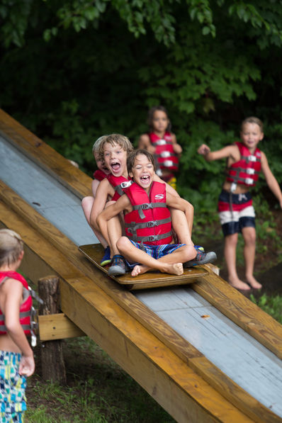 Campers on our Roller Coaster at Falling Creek Camp. It goes into the lake!