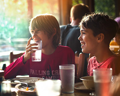 Our camp community is served three well-balanced meals each day. Fruit is available as a snack throughout the day in the Dining Hall, and we serve a milk & cookie snack most evenings.