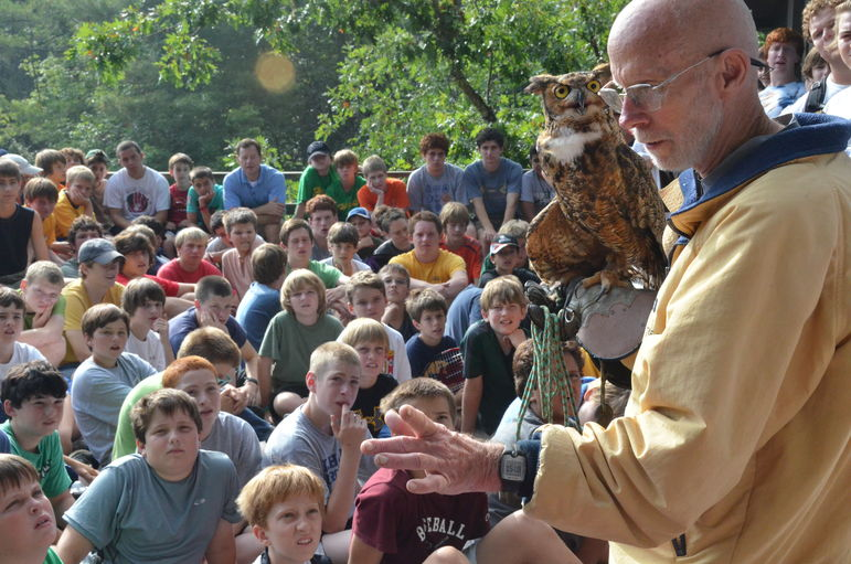 Steve Longenecker, from Asheville, NC, has remained the mentor, serving at Falling Creek for more than 30 years.  He has been a Wildlife Educator and teacher all of his adult life, and has introduced thousands of children to the natural world of raptors.