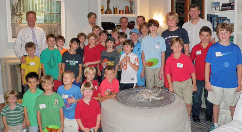 Campers, Staff, and Alumni from the Houston area at the camp movies/reunion hosted by the Riser Family in October, 2013