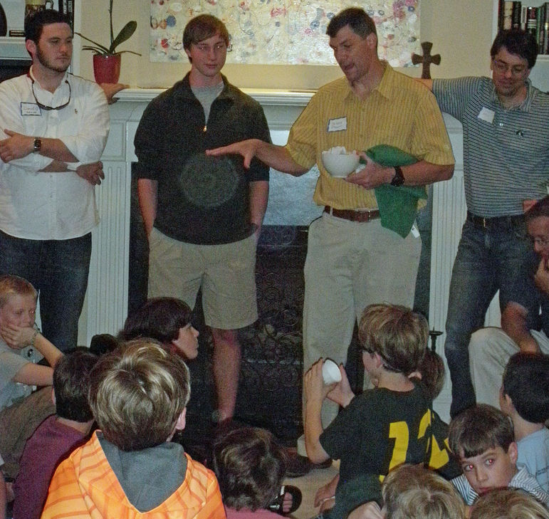 (l to r) Counselor Danny O'Neal, Camper/CIT William Boor, Yates, & alumni Griffin Bell answering questions at The Atlanta event hosted by The Milling Family in September, 2013