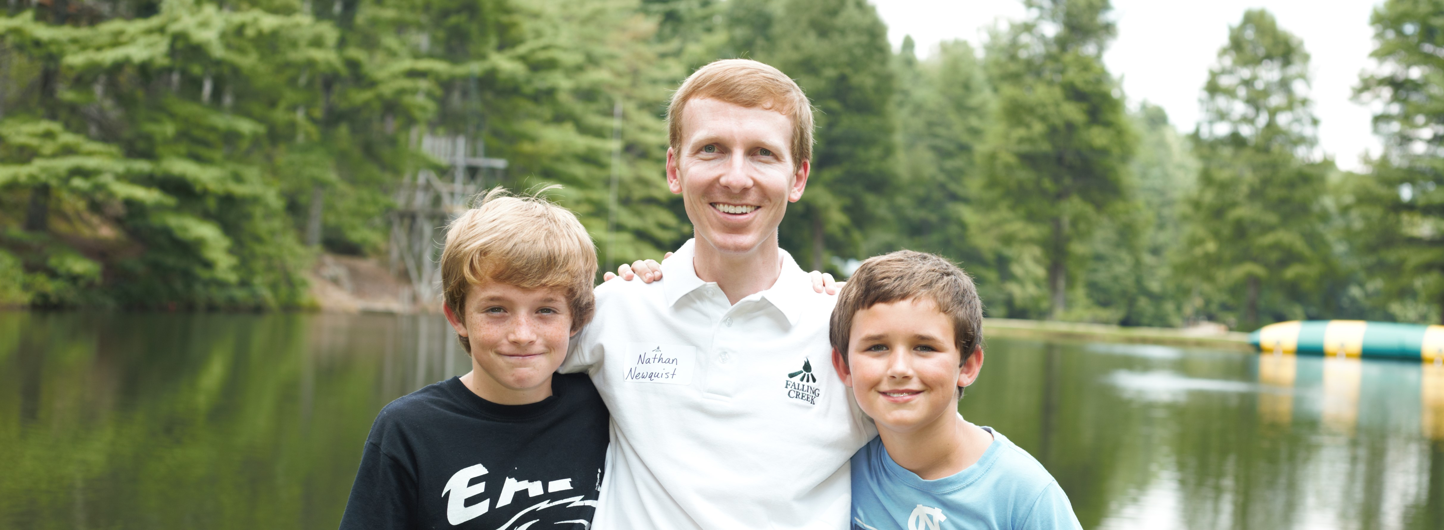 Nathan and his sons at camp in 2015.