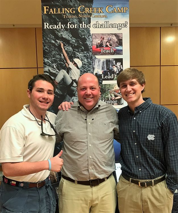 Goody with Hayden Vick (left) and Will Young at the UNC- Chapel Hill Job Opportunities event this past spring