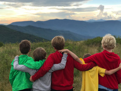 Campers enjoying the blue ridge mountain view.