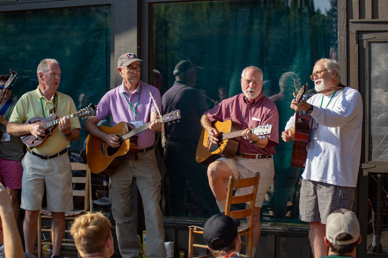 Left to right, Dave Dickerson, Walt Cottingham, Donnie Bain, and Steve Rogers playing their famous rendition of