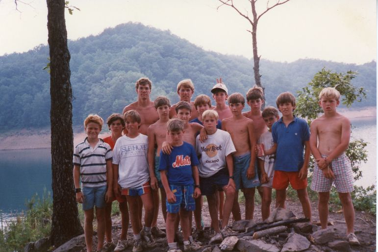 Yates and Frank Jackson leading a Fontana Trip during June Camp in 1987 (Kelly is in the blue second from the right) Lawrence Whatley is to the right of Frank, and Spencer South is to the right of him. Both are FCC dads, and Lawrence was at the Monday night show!
