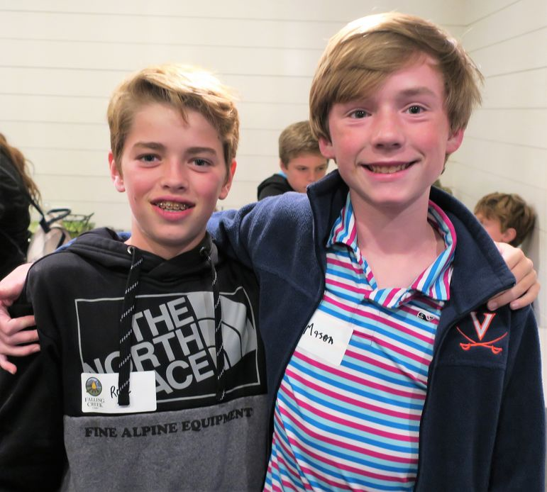 5-year camper, Roy R (left) and 6-year camper Mason S enjoyed reconnecting, and they are exciting to be returning to June camp in 2019.