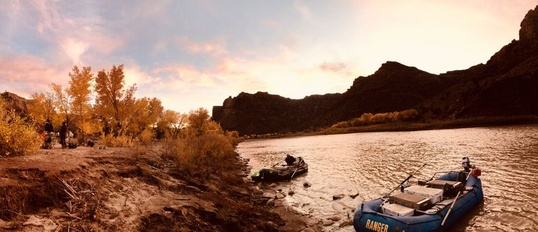 Sunset at one of the campsites along the Green River in Utah