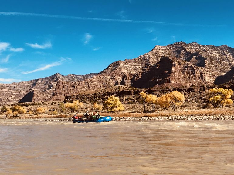 Rafting along the Green River with the Desolation Canyon River Rangers, as part of a Bureau of Land Management expedition