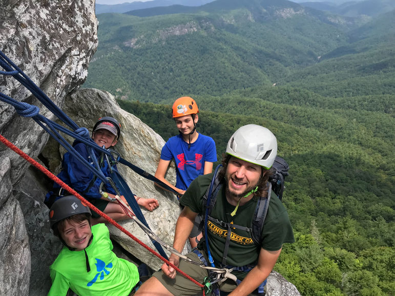 All smiles on a Linville Gorge climbing trip!