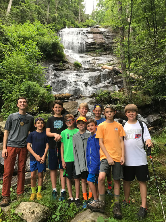 Enjoying a day hike and learning about our surrounding environment at camp's own Falling Creek Falls.