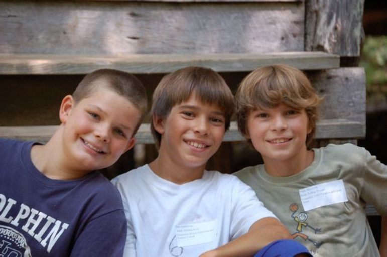 Jake Lambrecht, center, as a young camper. He is returning this summer as an incredible mountain bike instructor!