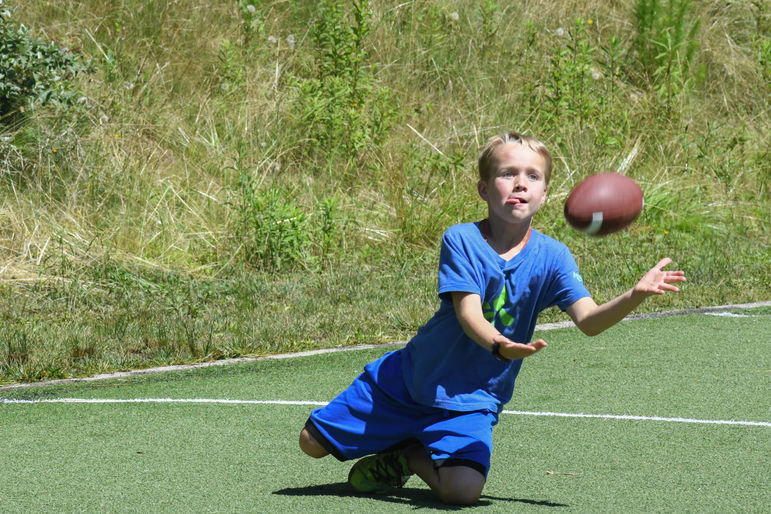 sliding catch at flag football!
