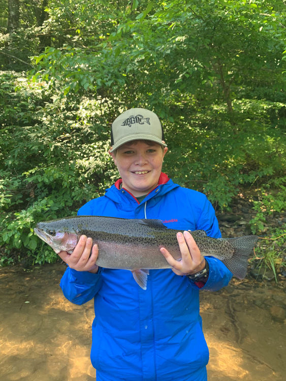Camden with a great catch during fly fishing