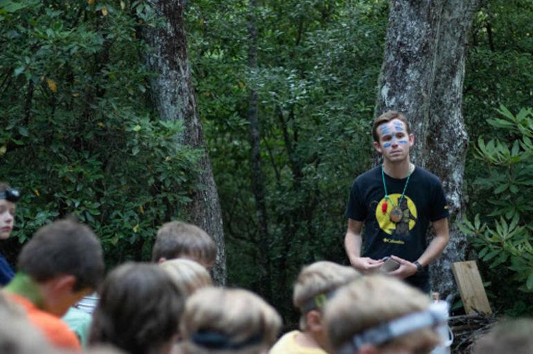Josh Cooey, the Tuscarora tribal leader, starting off the campfire talk