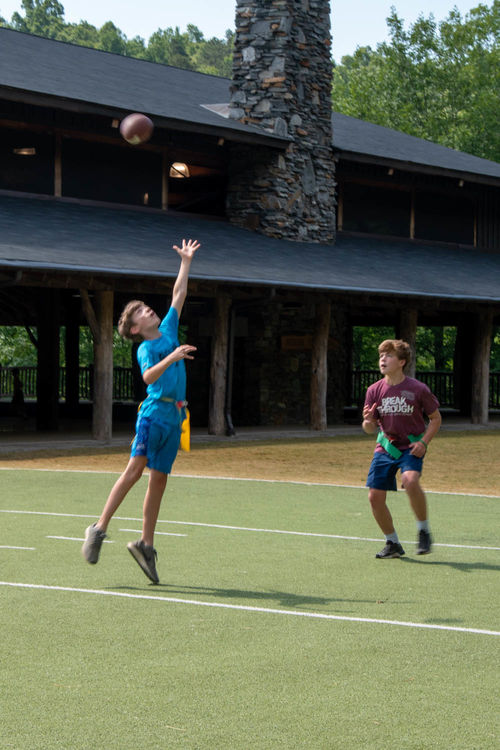 Jumping for the catch at flag football