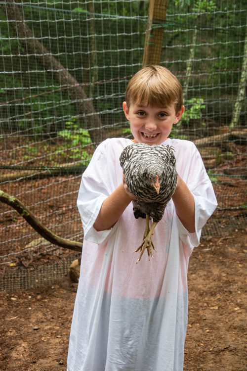 Caring for the chickens at the F.A.R.M.