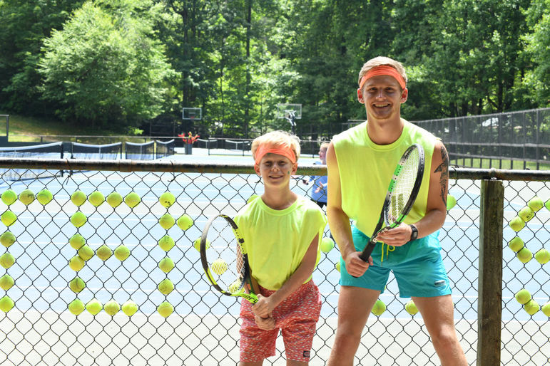 Matt and Thomas, matching and ready for their Camper/Counselor Tennis Tournament match