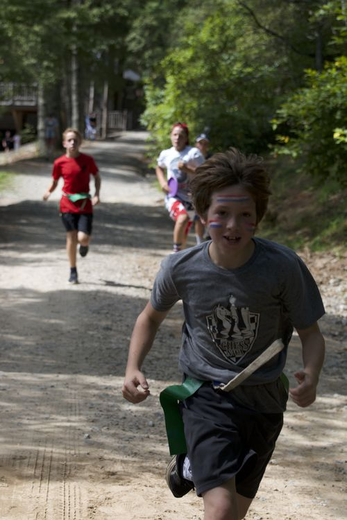 Running to find supplies during the all-camp-game