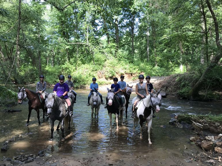 The crew on the first horseback overnight of the session