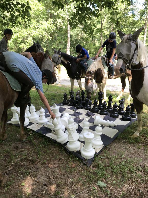 Playing chess on horseback