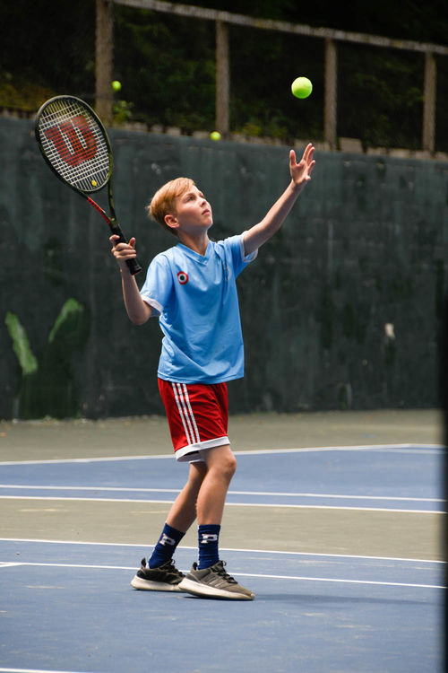 Serving the ball in a tennis match