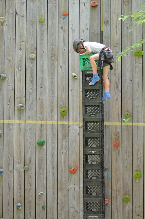 Crate stacking at the climbing wall - how high can you go?!