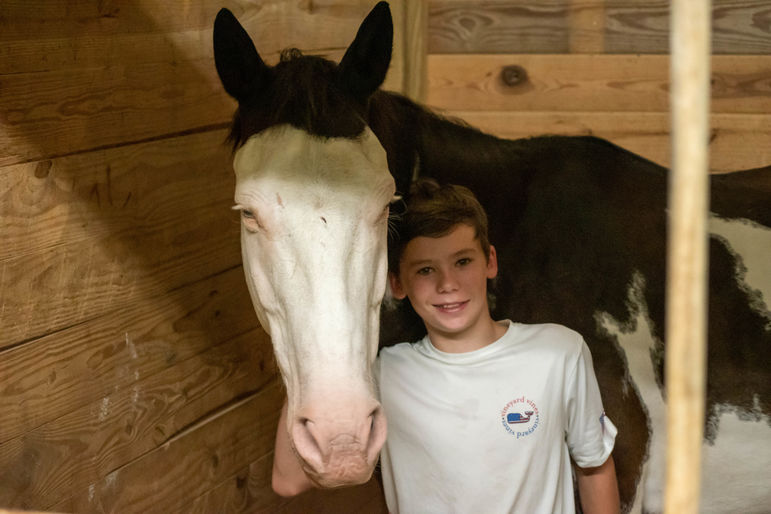 Ford, who earned Warrior in horseback today, with Kosmo the horse