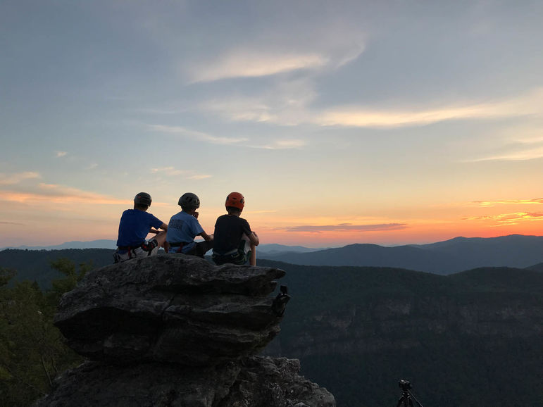 Taking in nature's beauty from the top of a climb during the Linville Gorge climbing 4-day this week